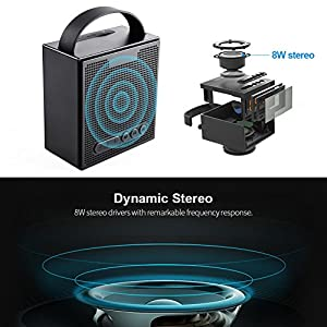 Portable Waterproof Wireless Bluetooth Speaker With FM Radio Alarm Clock, Xergur 8W Smart Speaker with HD Sound and Bass,Hands Free Phone Calling Mic,Micro SD TF Slot,10H Playtime (Black)