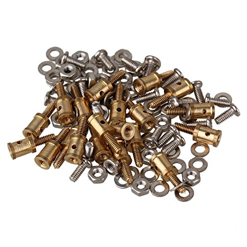 BQLZR 1mm Steel Wire Golden Airplane Servo Horn Linkage Connector Adjustable Linkage Stoppers Pack of 20