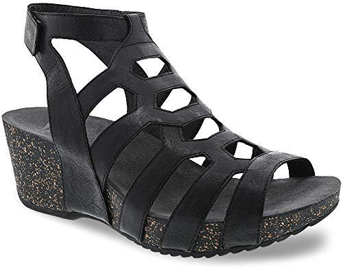 Dansko New Women's Selina Gladiator Sandal Black Waxy Burnished 37