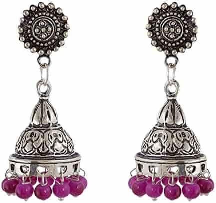 Subharpit Pink Color Tussel Thread Dangle /& Drop Earrings for Women /& Girls