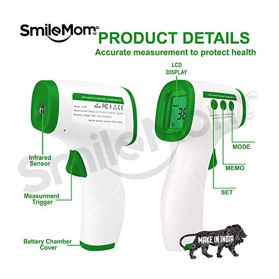 Smile Mom Digital Infrared Forehead Thermometer Gun for Fever, Body Temperature (Non Contact). Best for Kids, Adults. CE, ROHS, CNAS Certified 6