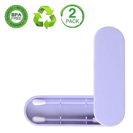 2PCS Wiederverwendbare Wattest/äBchen,Wattest/äBchen Ohr Reinigung,Doppelk/öPfige Silikon Wattest/äBchen Umweltfreundliche Sicherheit Wattest/äBchen Tragbare Ohrst/äBchen Ohrreinigung Mit Aufbewahrungsbox
