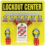 Accuform KST404 Lockout Center Board with Kit, 6-Padlock, 14'' Length x 14'' Width, Aluminum, Black on Yellow