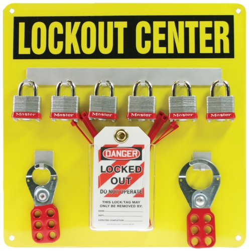 Accuform KST404 Lockout Center Board with Kit, 6-Padlock, 14'' Length x 14'' Width, Aluminum, Black on Yellow by Accuform