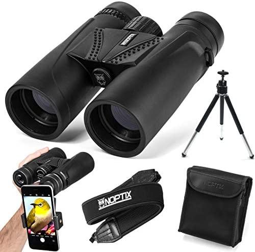Binoculars 10×42 Compact and Lightweight Best Bird Watching Gift Adults, Sports Events, Concerts, Safari, or Hunting Includes Smart Phone Adapter, Tripod, Neck Strap, Case, and Cleaning Cloth