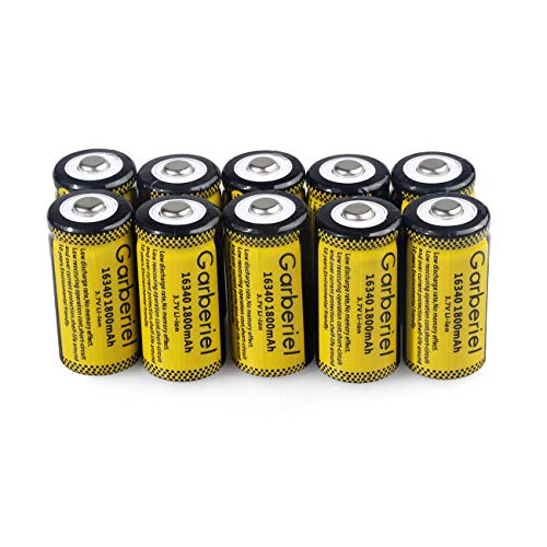 10 Pack CR123A Battery, 1800mAh RCR123A 3.7V Battery Rechargeable CR123A for LED Flashlight