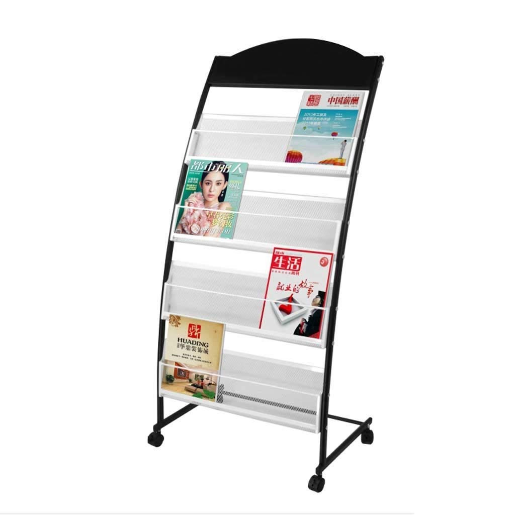 LQQFF Folding Floor Display Stand Movable Data Propaganda Magazine Rack Newspaper Rack Office Display Rack Brochure Display Stand