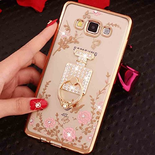 Huawei GT3/Honor5C/Honor 7Lite/GR5 Mini Diamond Ring Movie Stand Case, Shiny Perfume Bottle 360 Rotating Kickstand Clear Garden Flower Soft TPU Cover, TAITOU Bumper Phone Case For Huawei GT3 Gold
