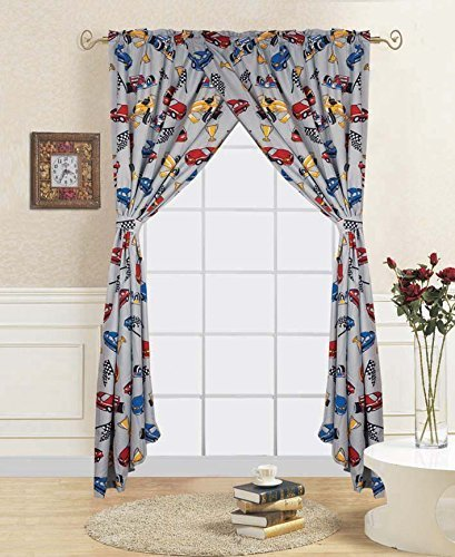WPM Race Car red blue print bedding set choose from Full/Twin comforter or bed sheets or window curtains panels for kids/girls/boys room (Window Curtain)