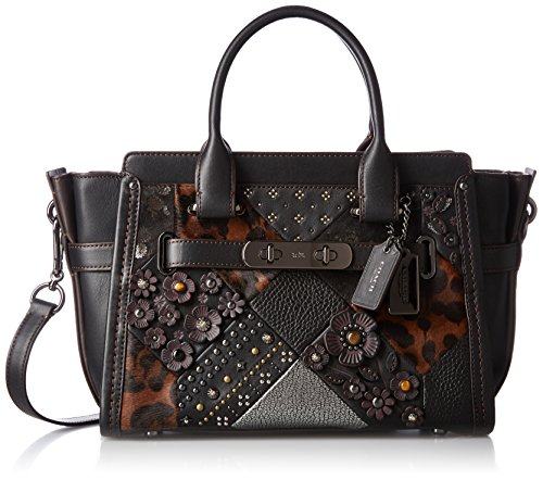 COACH Women's Embelished Canyon Quilt Coach Swagger 27 DK/Black Multi Satchel