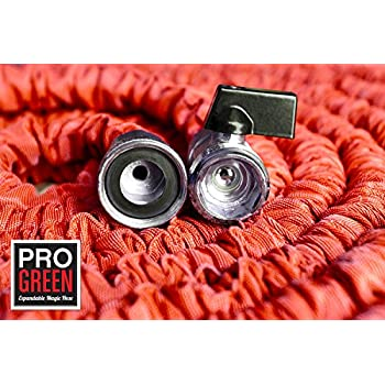 Elegant 150u0027 Big Red Expandable Garden Hose By Pro Green | Free Spray Nozzle | Water