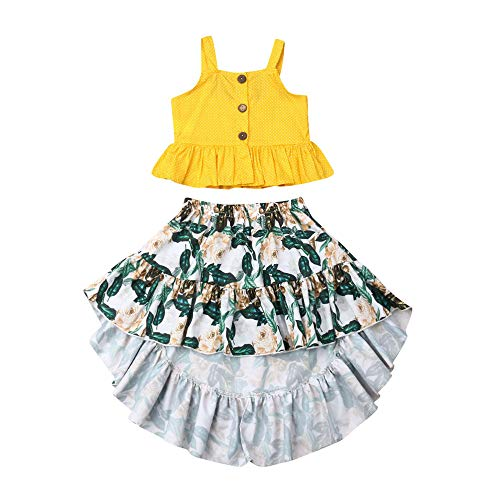 Toddler Little Baby Girls Ruffle Strap Tank Top+Boho Floral Skirt Dress Outfit Summer Clothes 2 Piece Set (Yellow, 5-6T)