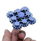 Foreveryang| Unique 9 Gears Fidget Hand Spinner Gears Design Metal, for ADHD Anxiety Autism Stress Relief Fidget Spinner Gear Metal Blue With Case