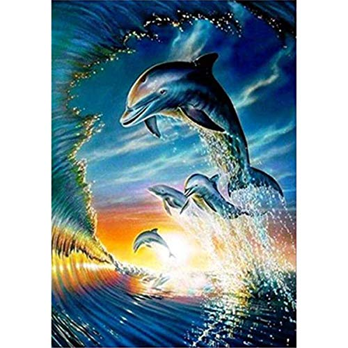 - DIY 5D Diamond Painting by Number Kit, Full Diamond Dolphin Cross Stitch Rhinestone Embroidery Arts Craft for Home Wall Decor 40x30cm
