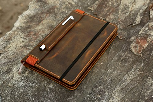 Leather notebook cover for moleskine classic notebook Large size / retro leather cover case for moleskine Large Cahier Volant Journal (5 x 8.25) MA505S