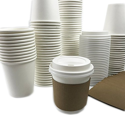Black Cat Avenue 50 Sets 10oz Disposable Hot White Paper Cups with Lids and Sleeves For Hot Drinks Coffee Cocoa Chocolate Latte Cappuccino