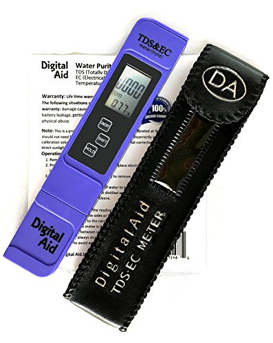Digital Aid® Professional Quality Water Test Meter. TDS, EC and Temperature Meter. 0-9990ppm. Lifetime Guarantee. Accurate and Reliable Water Test Meter. Ideal For Drinking Water, Aquariums, Ponds.
