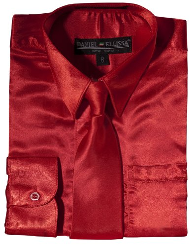 Daneil Ellissa Boys' Long Sleeve Satin Dress Shirt With Matching Tie And Hanky 8 Red