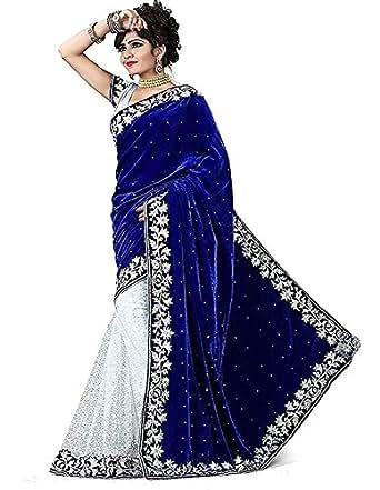 Omkar Creation Women's Velvet Saree With Blouse Piece (Sareevelvet1_Blue)