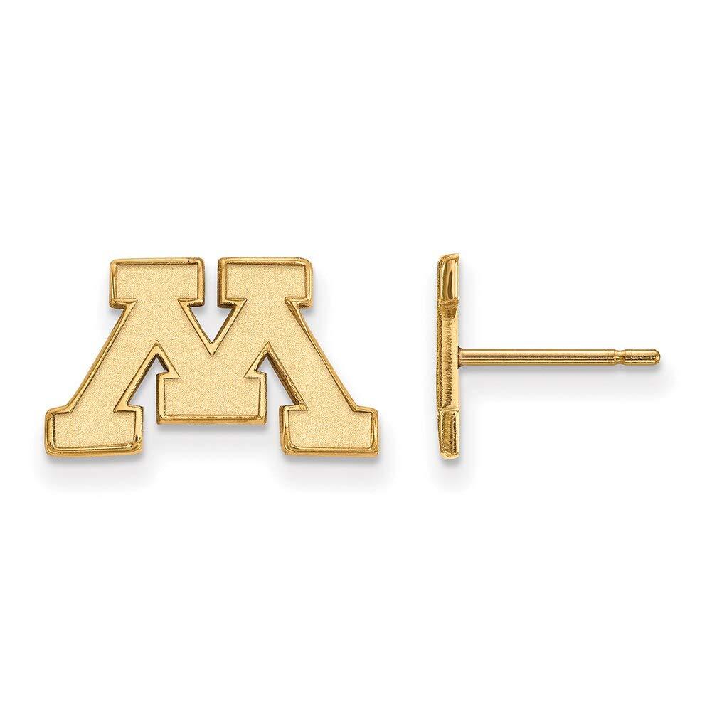Lex /& Lu LogoArt Sterling Silver w//GP University of Minnesota XS Post Earrings