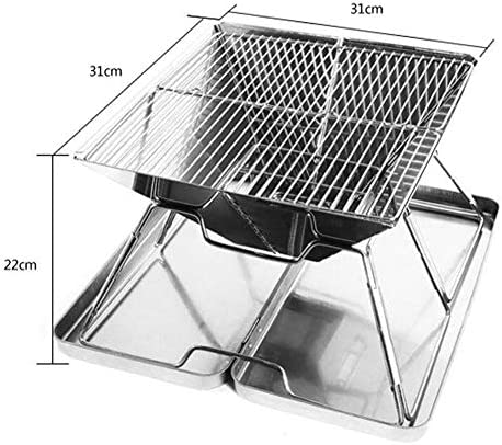 WYQ Outdoor Grill, Grill Pliant en Acier Inoxydable avec boîte en Acier, BBQ Grill Portable, Barbecue au Charbon