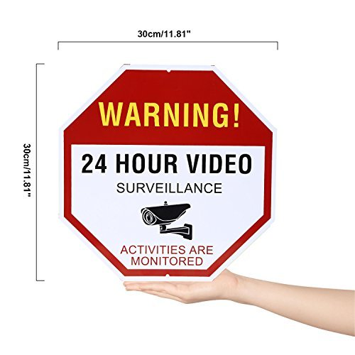 NONMON Video Surveillance Sign - Warning 24 Hour Security Alert 12'' X 12'' Octagon Aluminum Sign by NONMON (Image #1)