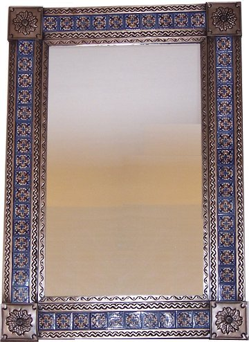 - Big Brown Escudo Talavera Tile Tin Mirror