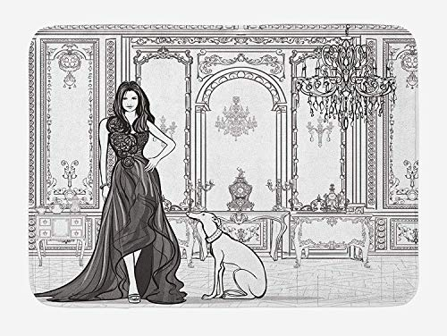 Weeosazg Teen Room Bath Mat, Sexy Fashion Woman in Victorian Palace with Dog Baroque Illustration, Plush Bathroom Decor Mat with Non Slip Backing, 31.5 X 19.7 Inches, Dark Grey and White]()