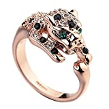 Rose Gold Plated Animal Leopard Ring with Clear and Black Cubic Zirconia Jaguar Sport Dots Fashion Jewelry for Women (9)
