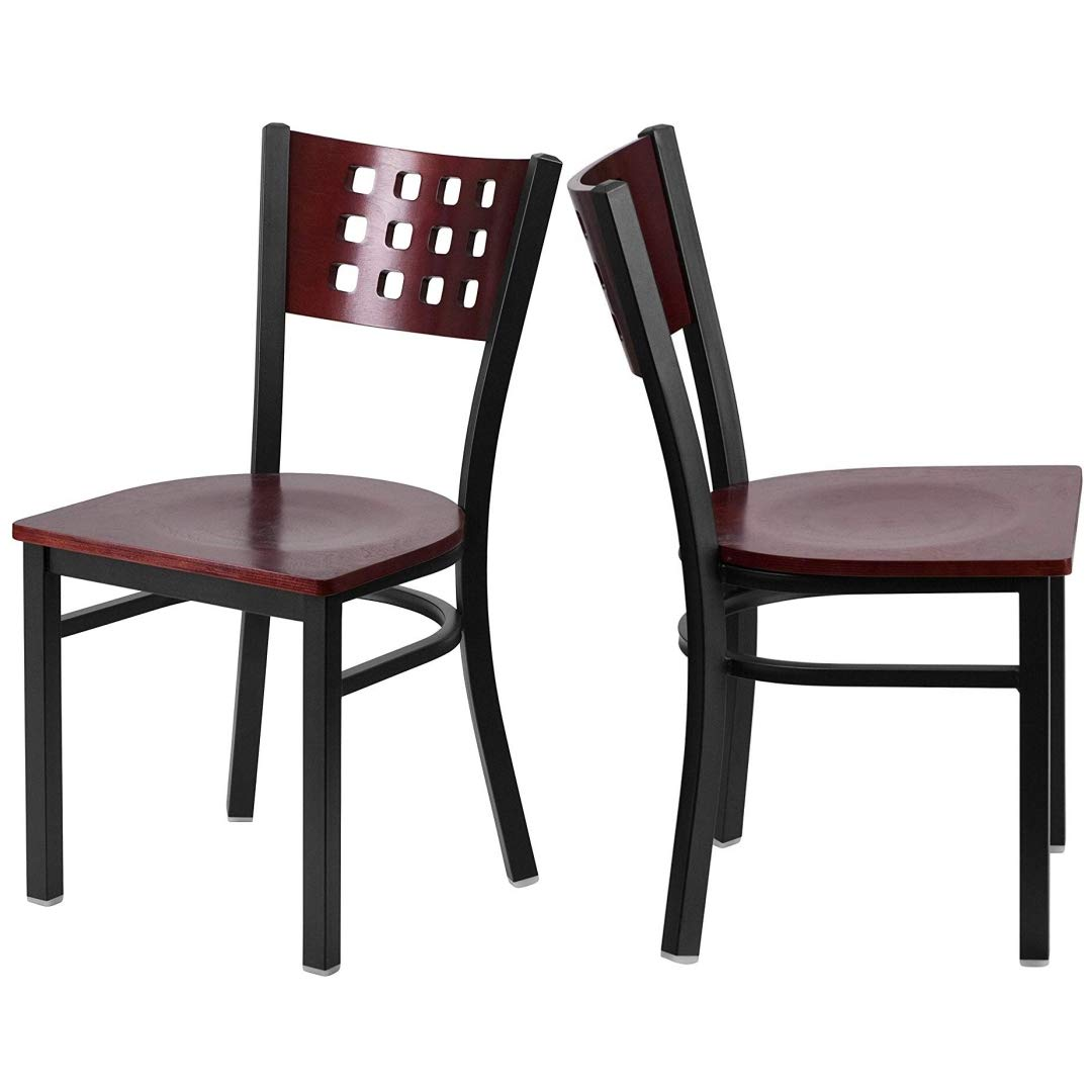 Modern Style Metal Dining Chairs Bar Restaurant Commercial Seats Mahogany Wood Cutout Back Design Black Powder Coated Frame Home Office Furniture - Set of 2 Mahogany Wood Seat #2206
