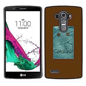 // PHONE CASE GIFT // Duro Estuche protector PC Cáscara Plástico Carcasa Funda Hard Protective Case for LG G4 / Text Monster Button Brown Sewing /