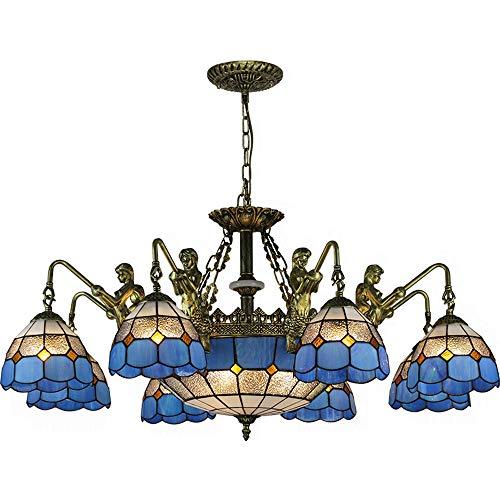 - SMGHF Mediterranean Style Chandelier Mermaid Living Room lamp European Retro Bedroom Dining Room lamp, E27