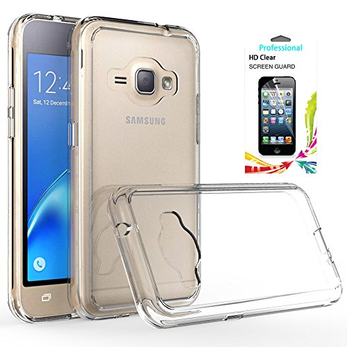Galaxy J1 2016/Luna/Amp 2/Express 3 Clear Case with HD Screen Protector,AnoKe [Scratch Resistant] Hard Acrylic Transparent Rubber Silicone Hybrid Slim Crytal For Samsung J1 J120M TM (Cellular Amp)