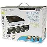 WinBook Security 8 Channel Digital Video Recorder DVR with 4 Indoor/Outdoor Night Vision Security Cameras (No Hard Drive)