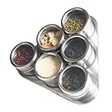 6 Piece Jars Stainless Steel Triangle Magnetic Spice Rack, Multi-purpose By Rubikliss, Perfect Kitchen Storage and Hold Spices, Dried Herbs, Crafts, Sewing and Other Hard to Store Small Items