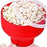 Silicone Microwave Popcorn Popper / Popcorn Maker, Red Collapsible Popcorn Bowl with lid for home - BPA free - for Healthy Homemade Butter & Oil-Free Recipes - by Chef's Area