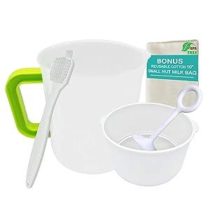 Greek Yogurt Strainer with Pitcher, Nut Milk Bag, Stainless Steel Fine Mesh Filter, Pressing Stick and Brush Set for Food (1.5 Quart Pitcher, 1 Quart Strainer, Small Size)