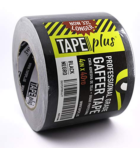 Gaffers Tape - 4 Inch by 40 Yards in Black - Get 33% More! High End Professional Grade - Gaffer Tape is The Perfect Alternative to Duct Tape, Electrical Tape, and Other Adhesives
