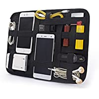Elastic Retention Electronics Accessories Organizer Board,Travel organizer for PAD,Power Bank,Earphone and Data lines, Travel Personal Care Kit (black)