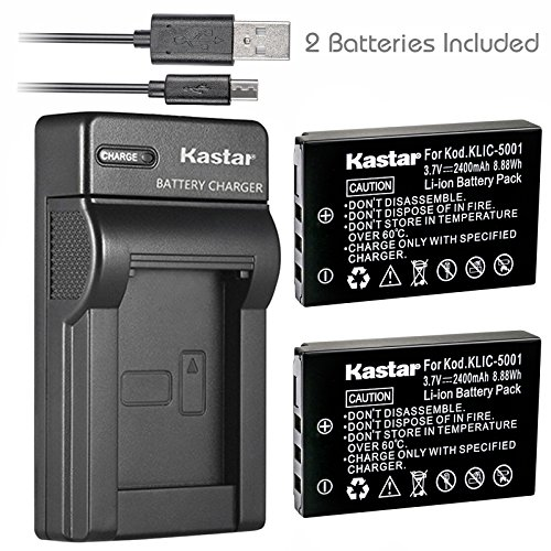 Kastar Battery (X2) & Slim USB Charger for Kodak KLIC-5001 and Easyshare P712 P850 P880 Z730 Z760 Z7590 DX6490 DX7440 DX7590 DX7630 Sanyo DB-L50 DMX-WH1 HD1010 FH11 HD2000 VPC-WH1 HD2000 HD1010 HD1000 - Dx7440 Charger