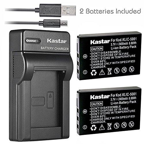 (Kastar Battery (X2) & Slim USB Charger for Kodak KLIC-5001 and Easyshare P712 P850 P880 Z730 Z760 Z7590 DX6490 DX7440 DX7590 DX7630 Sanyo DB-L50 DMX-WH1 HD1010 FH11 HD2000 VPC-WH1 HD2000 HD1010 HD1000)