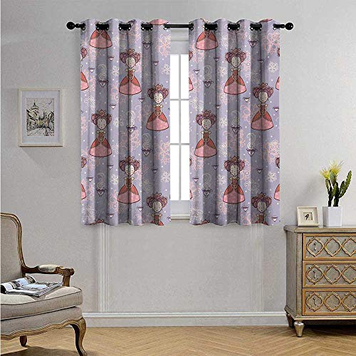 Tea Party Waterproof Window Curtain Cute Princess with Teacups Abstract Floral Background