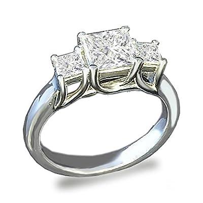 Cheap Venetia 3-Stones Supreme Top Grade Realistic Princess Cut Simulated Diamond Ring 925 Silver Platinum Plated cz cubic zirconia supplier