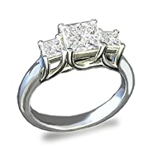 TOP GRADE 3 STONES BRILLIANT PRINCESS CUT SIMULATED DIAMOND RING SOLID 925 SILVER