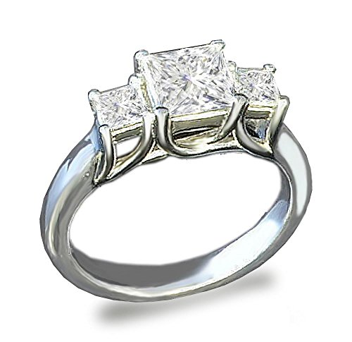 Venetia 3-Stones Supreme Top Grade Realistic Princess Cut Simulated Diamond Ring 925 Silver Platinum Plated cz cubic zirconia r3sq9