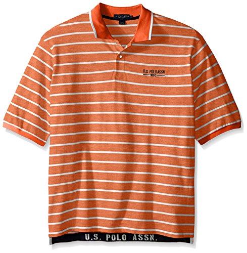 U.S. Polo Assn.. Men's Big-Tall Embellished Pencil Stripe Polo Shirt, Canoe Orange, ()