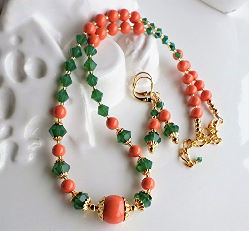 Coral and Green Swarovski Crystal and Pearl Necklace Earrings SET