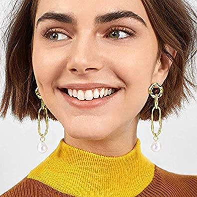 Baroque Freshwater Pearl Cultured Pearls Drop Dangle Earrings for Women Girls 14K Gold Plated