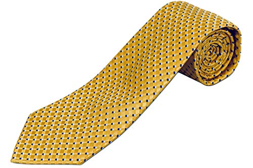 (100% Silk Extra Long Yellow Tie with Diamond Weave Pattern (70