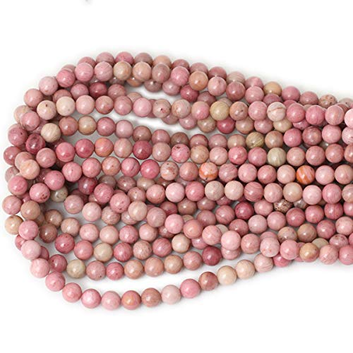 """CHEAVIAN 45PCS 8mm Natural Rhodochrosite Gemstone Smooth Round Loose Beads for Jewelry Making DIY Findings 1 Strand 15"""""""